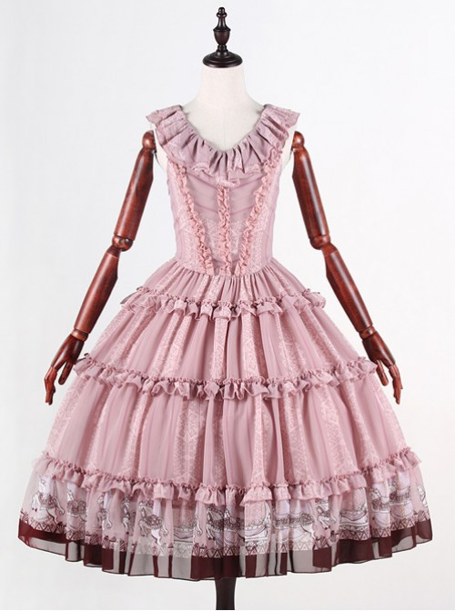 Classical Puppets Royal Carousel Super Special Design Smoke Pink Chiffon Lolita Jumper Skirt