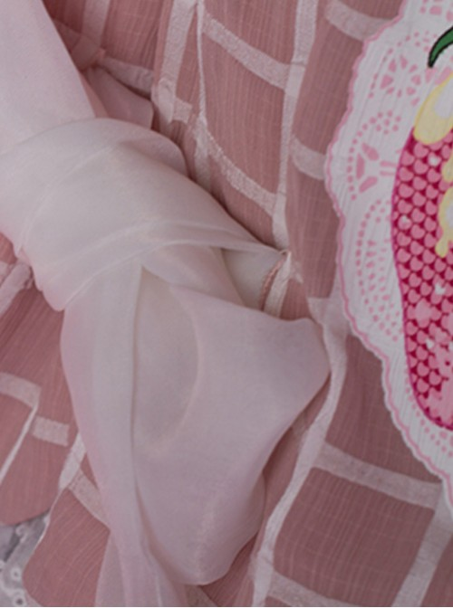 Come eat me! Pink Chiffon Lolita Jumper Skirt
