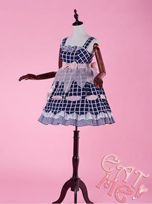 Come eat me! Navy Blue Chiffon Lolita Jumper Skirt