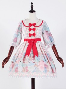 The Girl's Breasts Half Sleeve Little High Waist Cherry Mint Lolita Dress