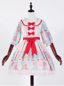 The Girl's Breasts Half Sleeve Little High Waist Cherry Mint Lolita Dress