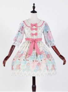 The Girl's Breasts Half Sleeve Little High Waist Sea Salt Cheese Lolita Dress