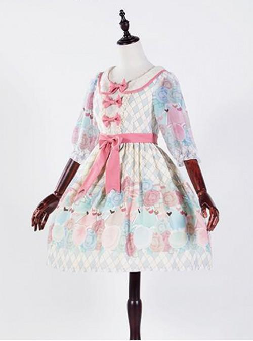 The Girl's Breasts Half Sleeve Little High Waist Sea Salt Cheese Lolita Dress