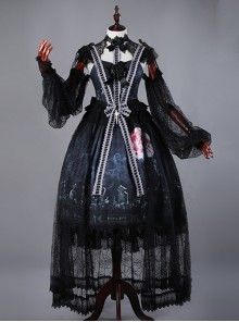 Moon Wolf Gorgeous Design Black Lolita JSK&OP