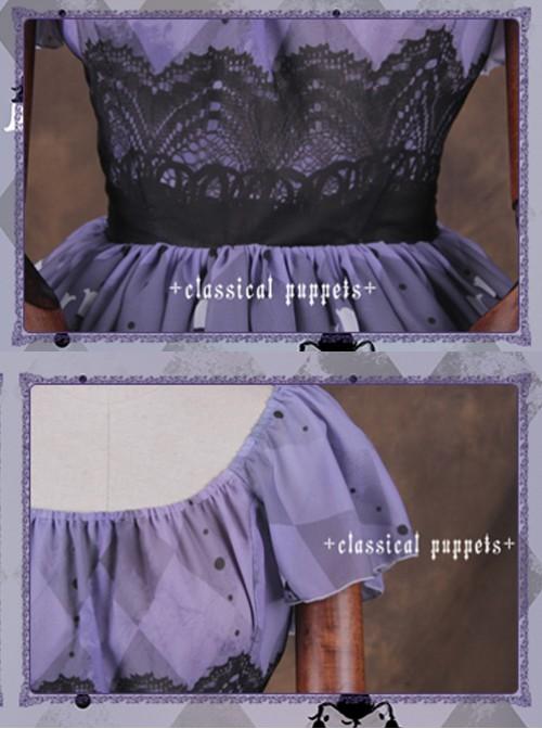 Obsidian Butterfly Dance Crystal Purple Short Sleeve Lolita OP