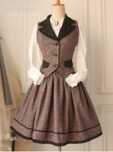 Earl Tea Retro College Style Woolen Brown Vest Lolita Skirt Set