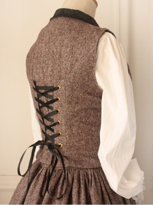 Earl Tea Retro College Style Woolen Brown Vest Lolita Skirt Set