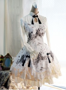 Chinese Style Peony Printing Long Sleeve Qi Lolita Dress