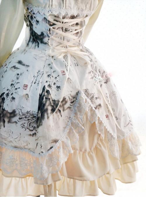 Chinese Style Peony Printing Long Sleeve Qi Lolita Dress