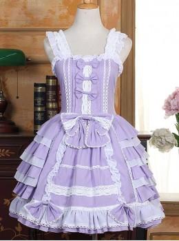 White Lace Violet Bowknot Sweet Lolita Sling Dress