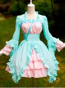 Mint Green And Light Pink Chiffon Irregular Hem Sweet Lolita Long Sleeve Dress