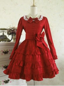 Palace Style Retro Lace Long Sleeve Wine Red Gothic Lolita Dress