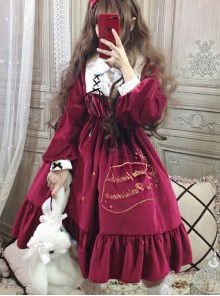 Palace Style Retro Lace Long Sleeve Pink Gothic Lolita Dress