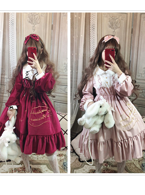 Palace Style Retro Lace Long Sleeve Red Gothic Lolita Dress