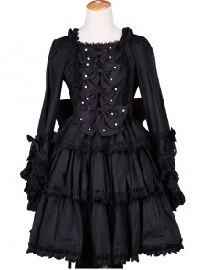 Palace Style Retro Lace Long Sleeve Black Gothic Lolita Dress