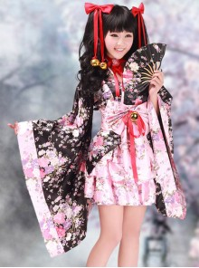 Black And Pink Long Sleeves V-Neck Kimono Cosplay Lolita Dress