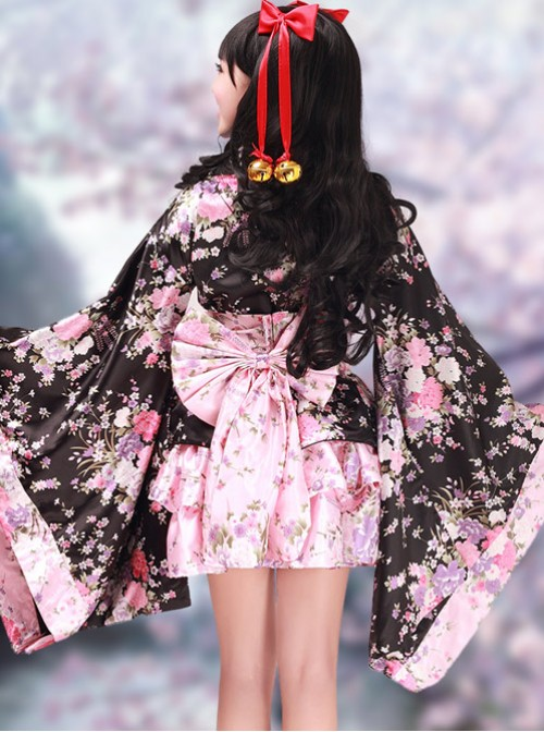 Black And Pink Long Sleeves V-Neck Kimono Cosplay Lolita Dress