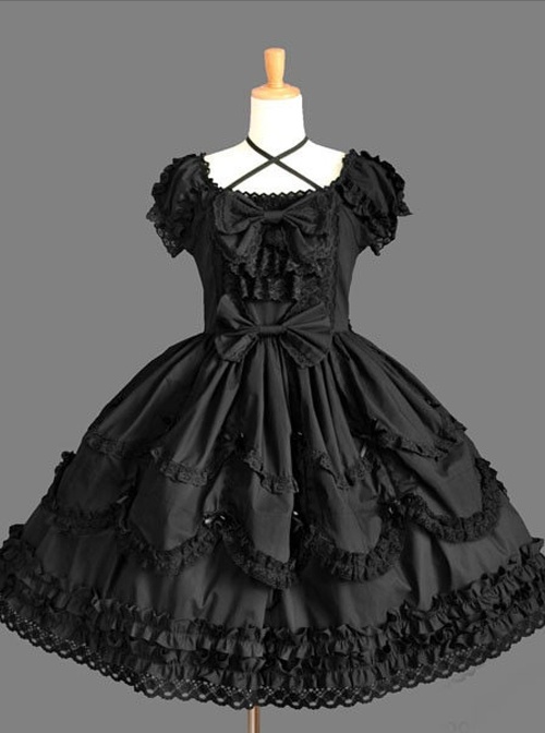 Vintage Lace Party Prom Cotton Short Sleeve Sweet Lolita Dress