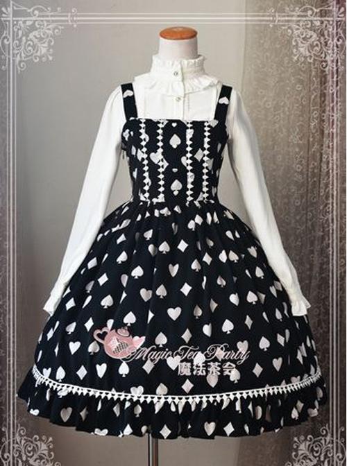Magic Tea Party Poker Series Printing Classic Lolita Sling Dress