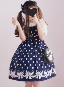 Wave Point Bowknot Sweet Lolita Sling Dress