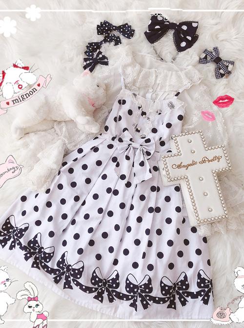 Wave Point Bowknot Sweet Lolita Sling Dress