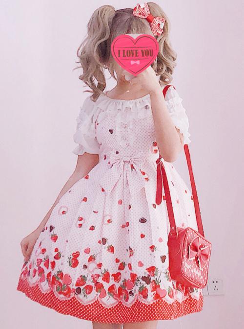 Chocolate Strawberry Sweet Lolita Sling Dress