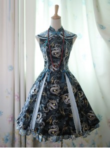Black Dragon Chinese Style Lolita Sleeveless Dress