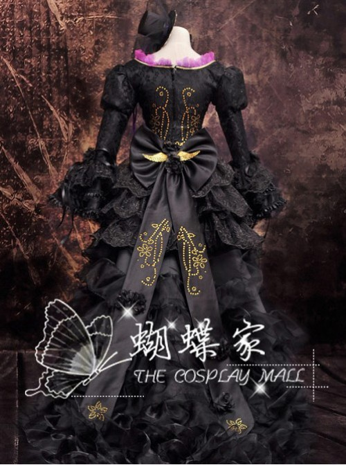 Vocaloid Miku Black Deluxe Edition Cosplay Lolita Dress And Hat Costume