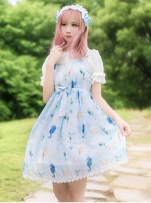 Starfish Song Light Blue Sweet Lolita Sling Dress