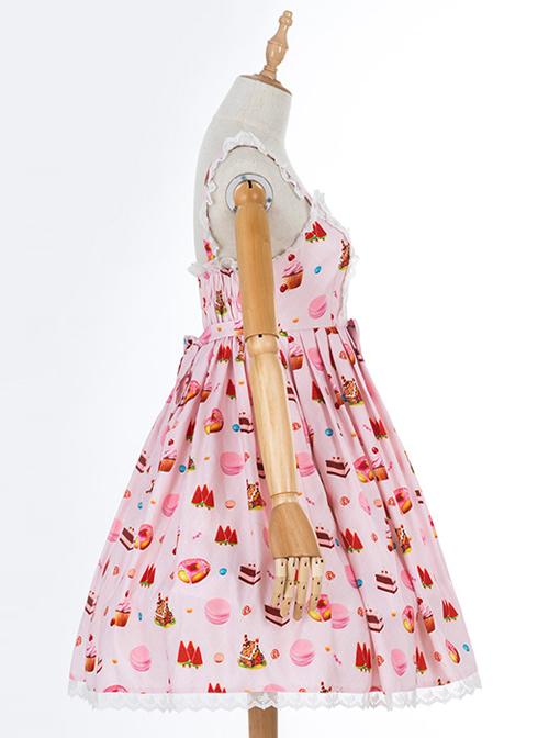 Dessert Printing Sweet Lolita Pink Sling Dress