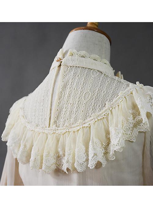 Retro Palace Slim Lace Long Style Classic Lolita Long Sleeve Dress