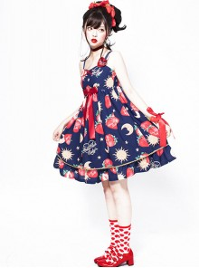 Strawberries Floating In The Universe Series High Waist Version Sweet Lolita Sleeveless Dress