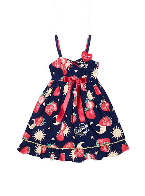 Strawberries Floating In The Universe Series High Waist Version Sweet Lolita Sleeveless Dress