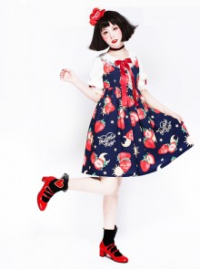 Strawberries Floating In The Universe Series Sweet Lolita High Waist Half Sleeve Dress
