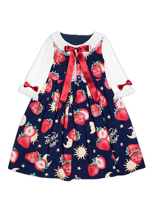 Strawberries Floating In The Universe Series Sweet Lolita High Waist Half Sleeve Dress
