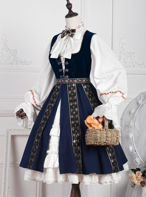 Anna Polka Series Embroidery Retro Classic Lolita Jumper Dress