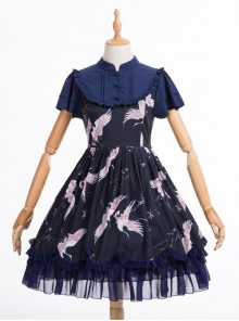 Dark Blue Retro Chinese Style Classic Lolita Short Sleeve Dress