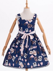 Dark Blue Chiffon Poker Printing Classic Lolita Sling Dress