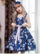 Dark Blue Chiffon Poker Printing Classic Lolita Sling Dress