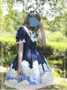 Magic Tea Party Starry Sky Series Dark Blue Sweet Lolita Short Sleeve Dress