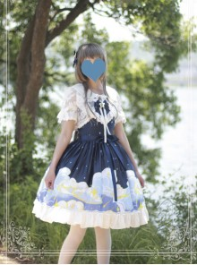Magic Tea Party Starry Sky Series Dark Blue Sweet Lolita Sling Dress