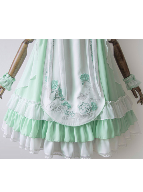 Camellia Series Chinese Style Embroidery High Waist Lolita Dress