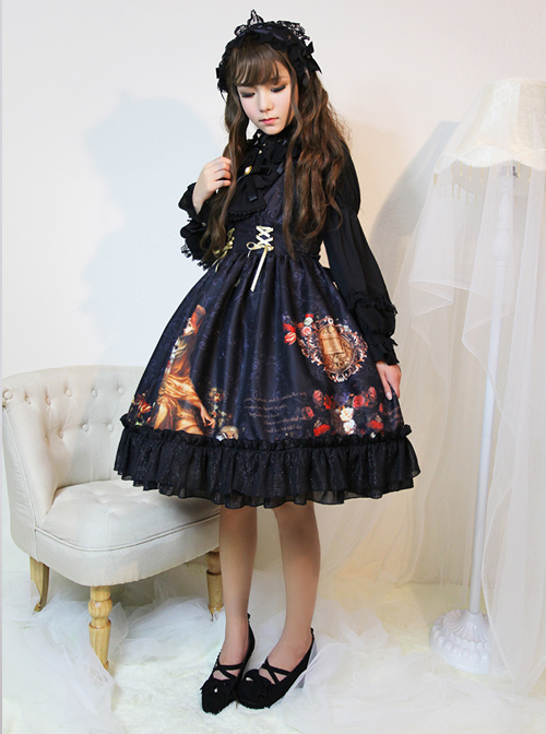 Song Of Time Black Lace-up Retro Classic Lolita Sling Dress