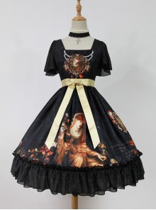 Song Of Time Black Lace-up Retro Classic Lolita Short Sleeve Dress