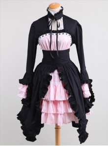 Cotton Black And Pink Sweet Lolita Long Sleeve Maid Dress