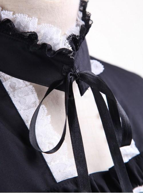 Cotton Black And Pink Sweet Lolita Long Sleeve Maid Dress