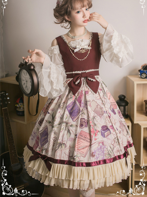 Collect The Traveler Series Wine Red Classic Lolita Sleeveless Dress