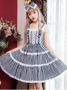 Chiffon Lace Plaid Classic Lolita Sling Dress