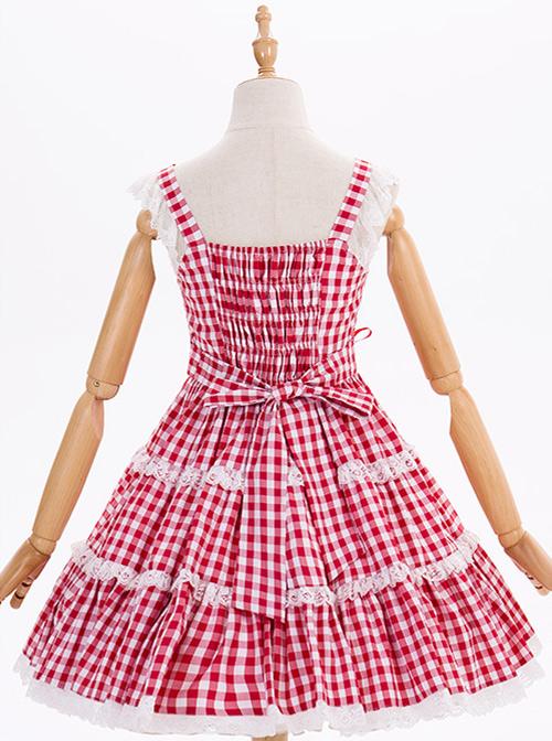 Chiffon Lace Plaid Classic Lolita Sling Dress