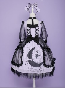 Star Moon Cat Series Sweet Lolita Half Sleeve Dress